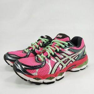 ASICS Gel Nimbus 16 Running Shoes PINK GREEN WHITE